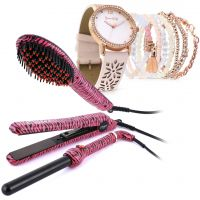3 PC Hair Styling Set - Pink Zebra & Bella Watch Set