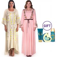 Areej Embroidered Dress - Pack of 2 & Gift - S/M