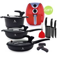 Black Knight Low Pressure Cookware Set & 4.5 Air Fryer Red