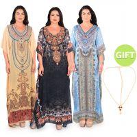 Haya Printed Jalabiyas & Gift - Pack of 3