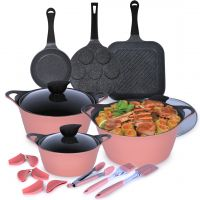 13 Piece Eela Cookware  Set - Pink