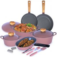 10 Piece Retro Cookware Pink Set with Gift