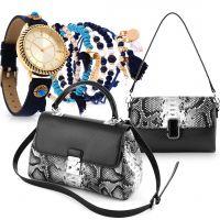 Black Animal Print Bag & Bella Navy Watch