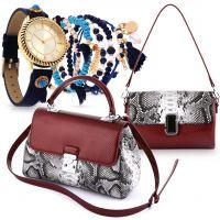 Maroon Animal Print Bag & Bella Navy Watch