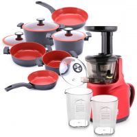 Slow Juicer Red & 10PC Reverse Cookware