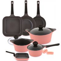 11 Piece Aeni Cookware Set - Pink