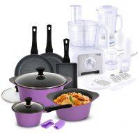 10 Piece Aluminum Die-Cast Cookware Set & Food Processor