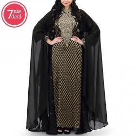 Asila Gold Black Jalabiya