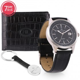 Black Leather Watch & Wallet Gift Set