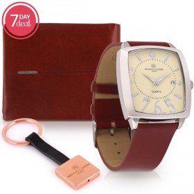 Brown Leather Watch & Wallet Gift Set