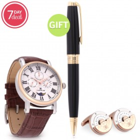 Eid Gold Brown Leather Watch Gift Set