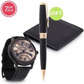 Eid Black Leather Watch Gift Set