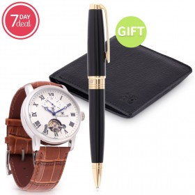 Eid Brown Automatic Watch Gift Set
