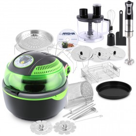 Multi Air Fryer with Preset Menu - Green with Hand Food Processor
