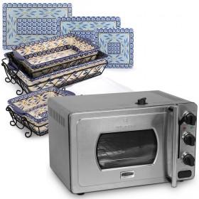 29 Liters Pressure Cooker Oven &  Old World Square Baking Set of 12 - Blue