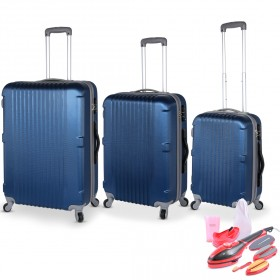 San Francisco Luggage Set of 3 - Blue &  2-in-1 Steamer & Iron