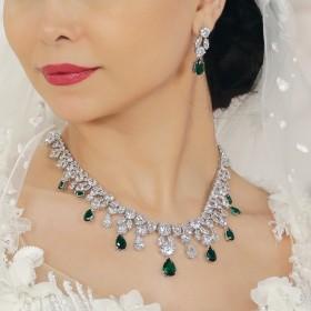 Emerald Crystal Eid Jewelry Set
