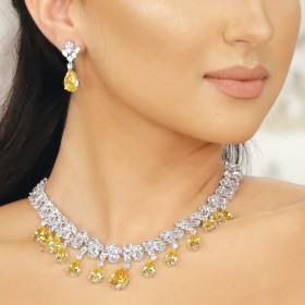 Yellow Crystal Eid Jewelry Set