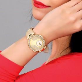 Ladies Metallic leather Crystal Watch