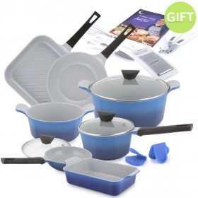 16 Piece Venn Cookware Set - 2 Tone Blue with Gifts