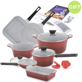 16 Piece Venn Cookware Set - 2 Tone Red with Gifts