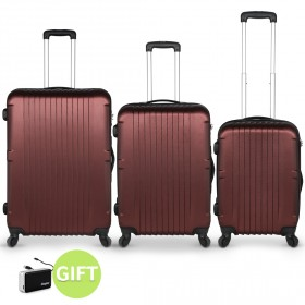 San Francisco Luggage Set of 3 & Gift - Red