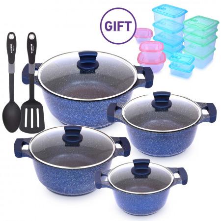 10PCS Granite Cookware Set - Blue & Storage set