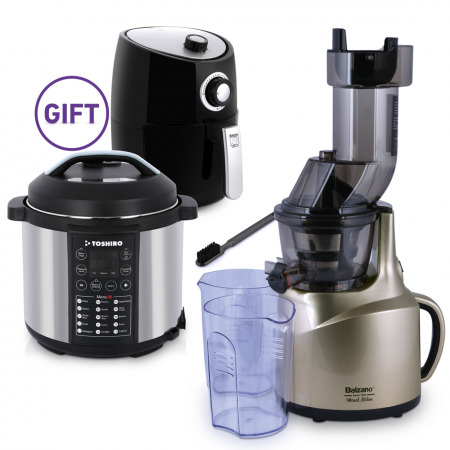 Whole Mouth Slow Juicer Gold with 6L Pressure Cooker & 2L Airfryer