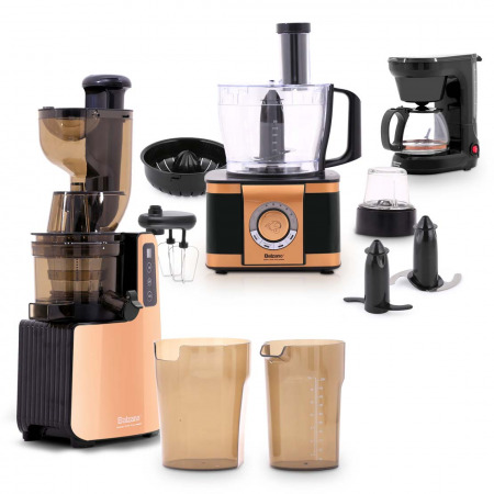 Cold Press Slow Juicer Royal Collection with EF408 Food processor & Drip coffee