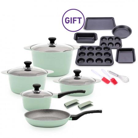 10Pc Dura Cookware Set - Avocado & 9Pc Bakeware Set