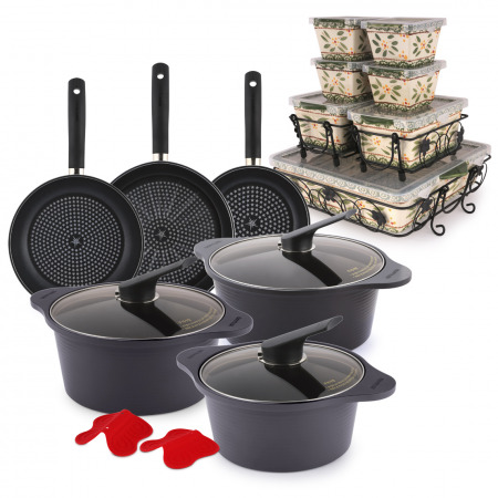 Buy 10 Piece Cookware Set & Get 12PC Bakeware Set