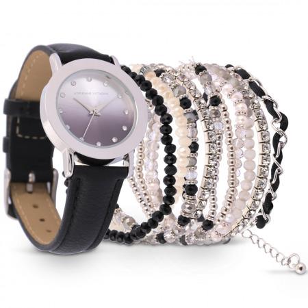Luxury Black Leather Watch