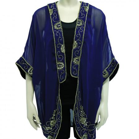 Sassy Blue Jacket with Gold Embellishment