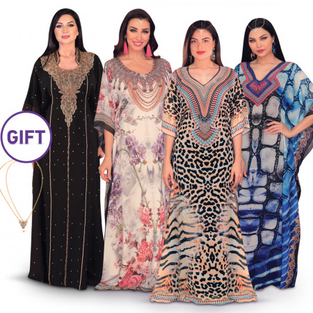 Rima Buy 3 Printed Jalabiya & Get One Jalabiya Free