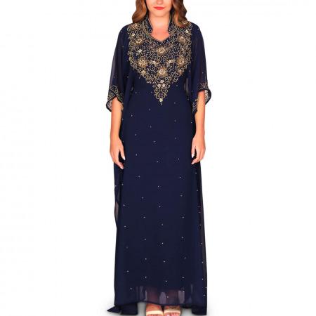 Maram Embellished Jalabiya - Royal Blue