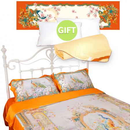 ShengShiFengHua Silk 4 Piece Bed Set