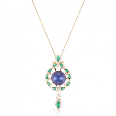 Freshwater Black Pearl Emerald Silver Pendant