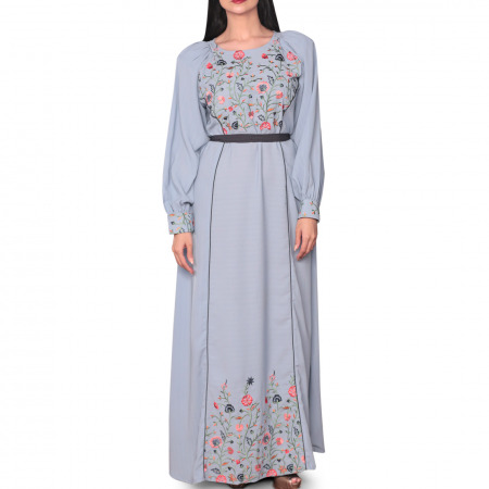 Hasna Embroidered Blue Dress - S/M