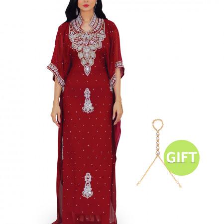 Al Anoud Maroon Jalabiya with Gift
