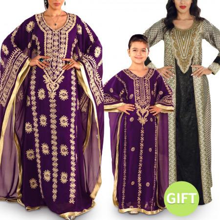 Jalabiya Gift Set - Purple Colour & Gift  (5-6) Years
