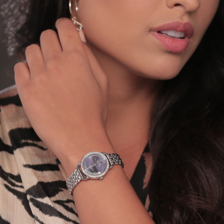 Silver Blue Dial Glitz Bezel  Watch