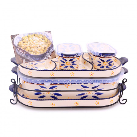 6 PC Squoval Old World Bakeware Set Blue & Recipes book