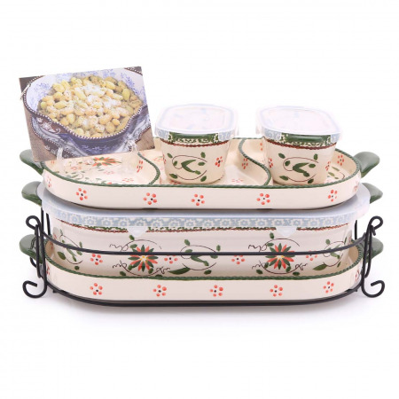 6 PC Squoval Old World Bakeware Set - Poinsettia & Recipes book