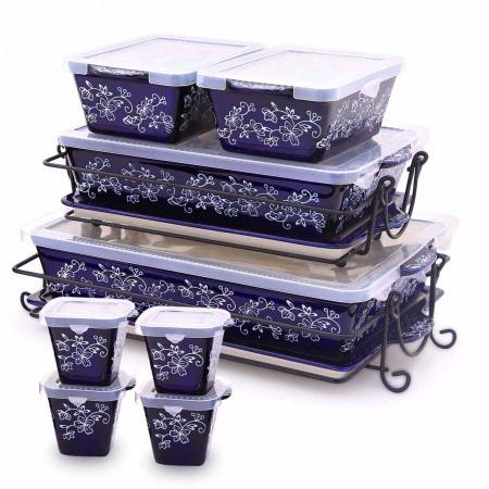 20 PC Floral Lace Bakeware Set - Blue