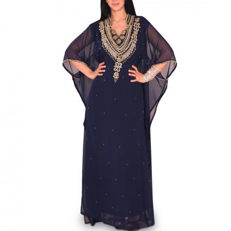 Thuraya Embellished Jalabiya - Navy Blue