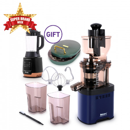 Whole Mouth Slow Juicer JE20 Blue with 6in1 Electric Grill Pan & Soup Maker