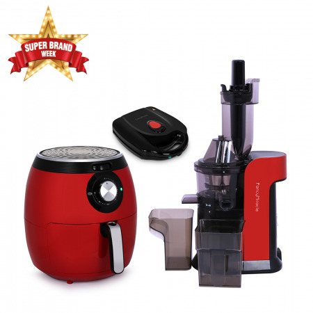 Large Caliber Juicer - Red with 5.5L Air Fryer & Sambousa Maker