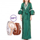 Duha Embellished Green Bisht L/XL & Gift