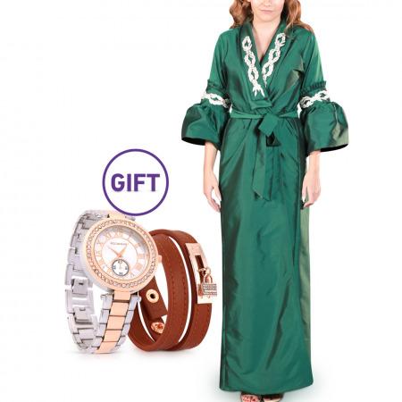 Duha Embellished Green Bisht S/M & Gift