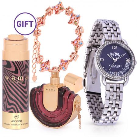 Silver Blue Dial Glitz Bezel Watch & Exotic Gifts